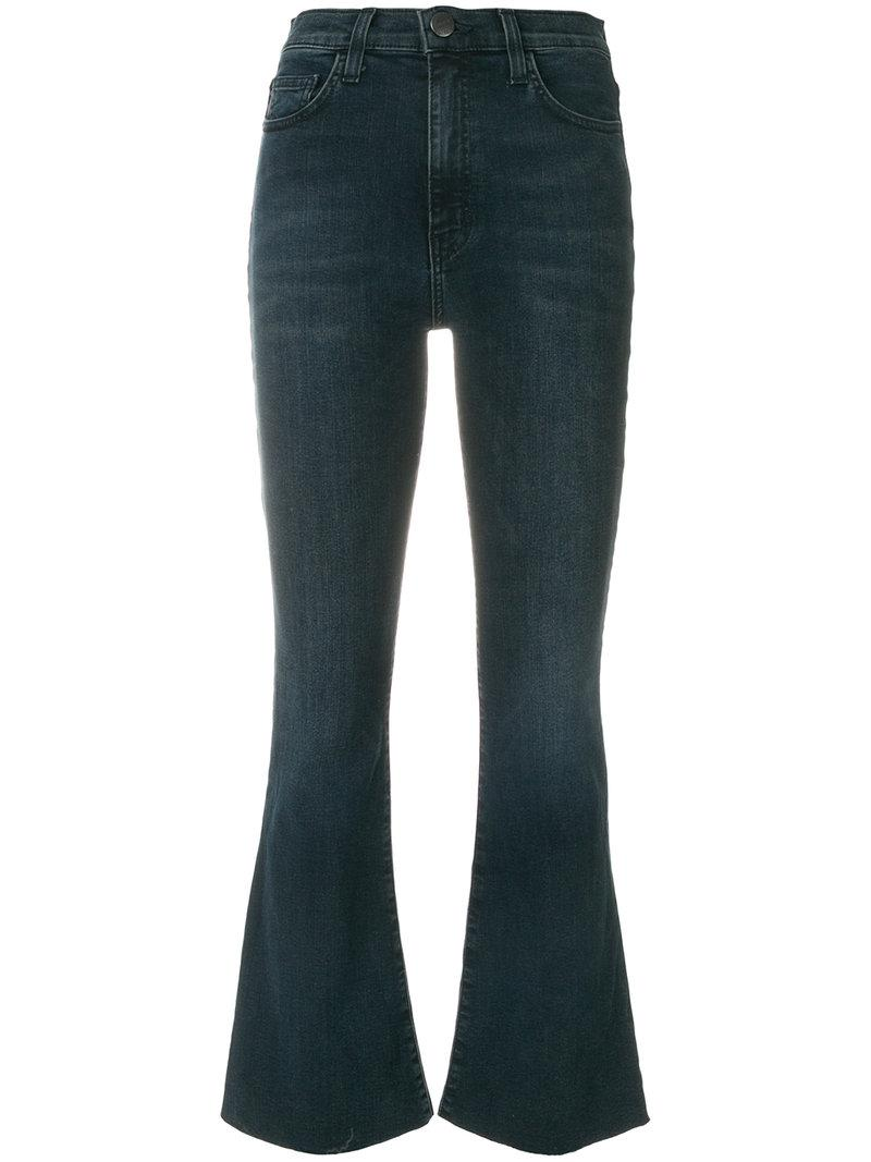 Current Elliott Cropped Flared Jeans In Blue
