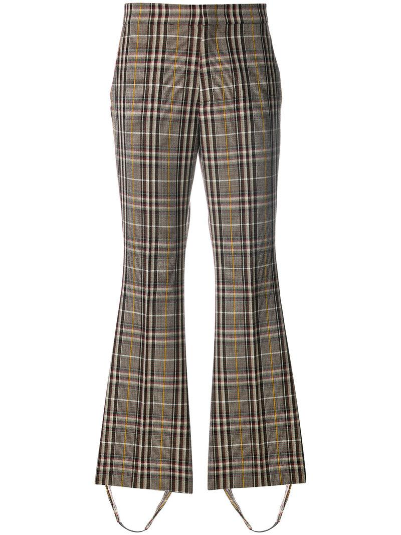 Gucci Checked Stirrup Trousers - Brown