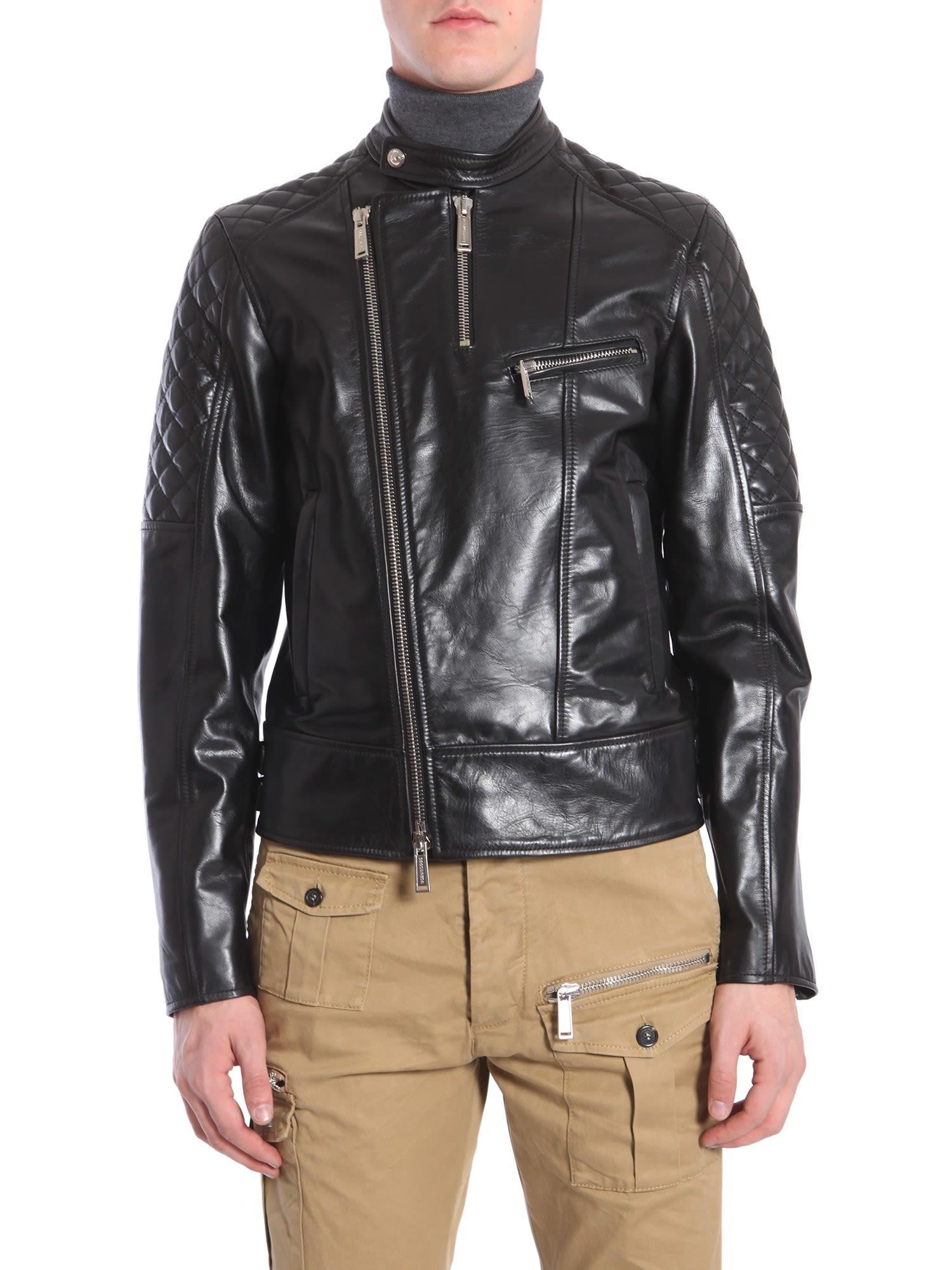 Dsquared2 Biker Leather Jacket In Black