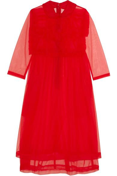 Comme Des Garcons Girl Cotton-trimmed Ruffled Organza Dress In Red