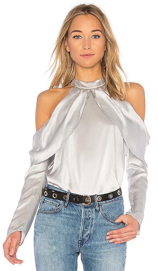 2ac26f9eb6710 Parker Sonelle Mock-Neck Cold-Shoulder Silk Satin Blouse In Slate ...