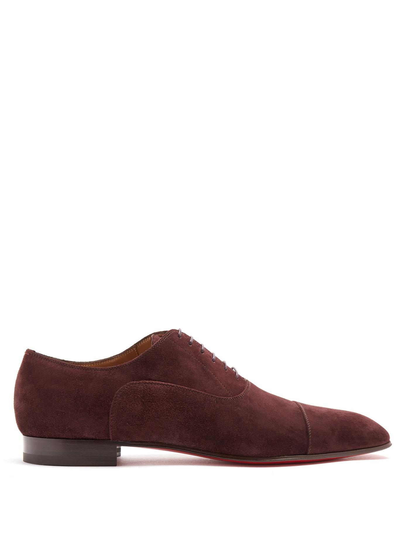Christian Louboutin Greggo Suede Derby Shoes In Burgundy-Brown