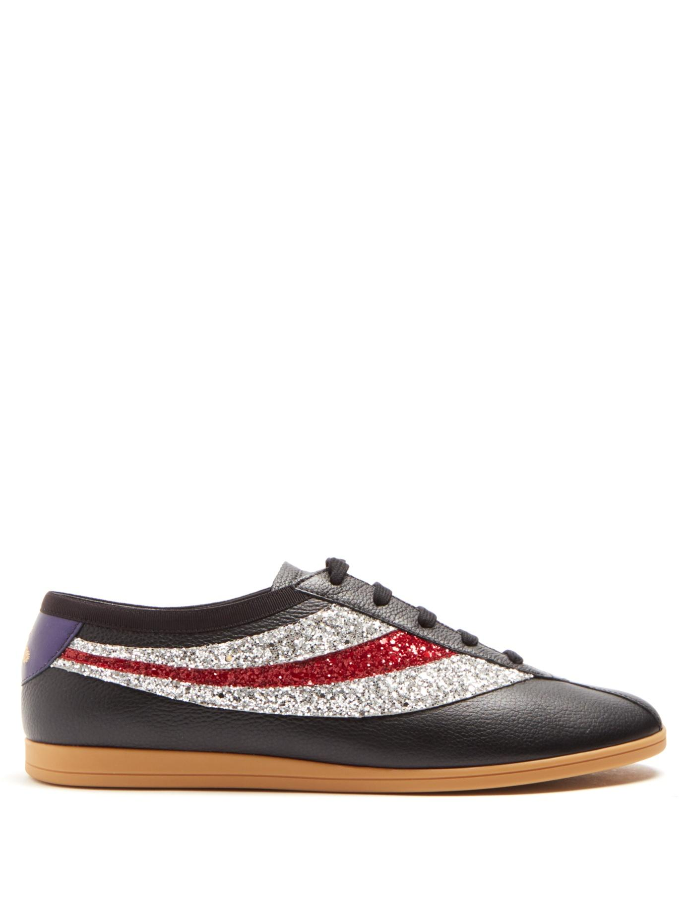0b510bd197e Gucci - Falacer Grained Leather Low Top Trainers - Mens - Black Multi