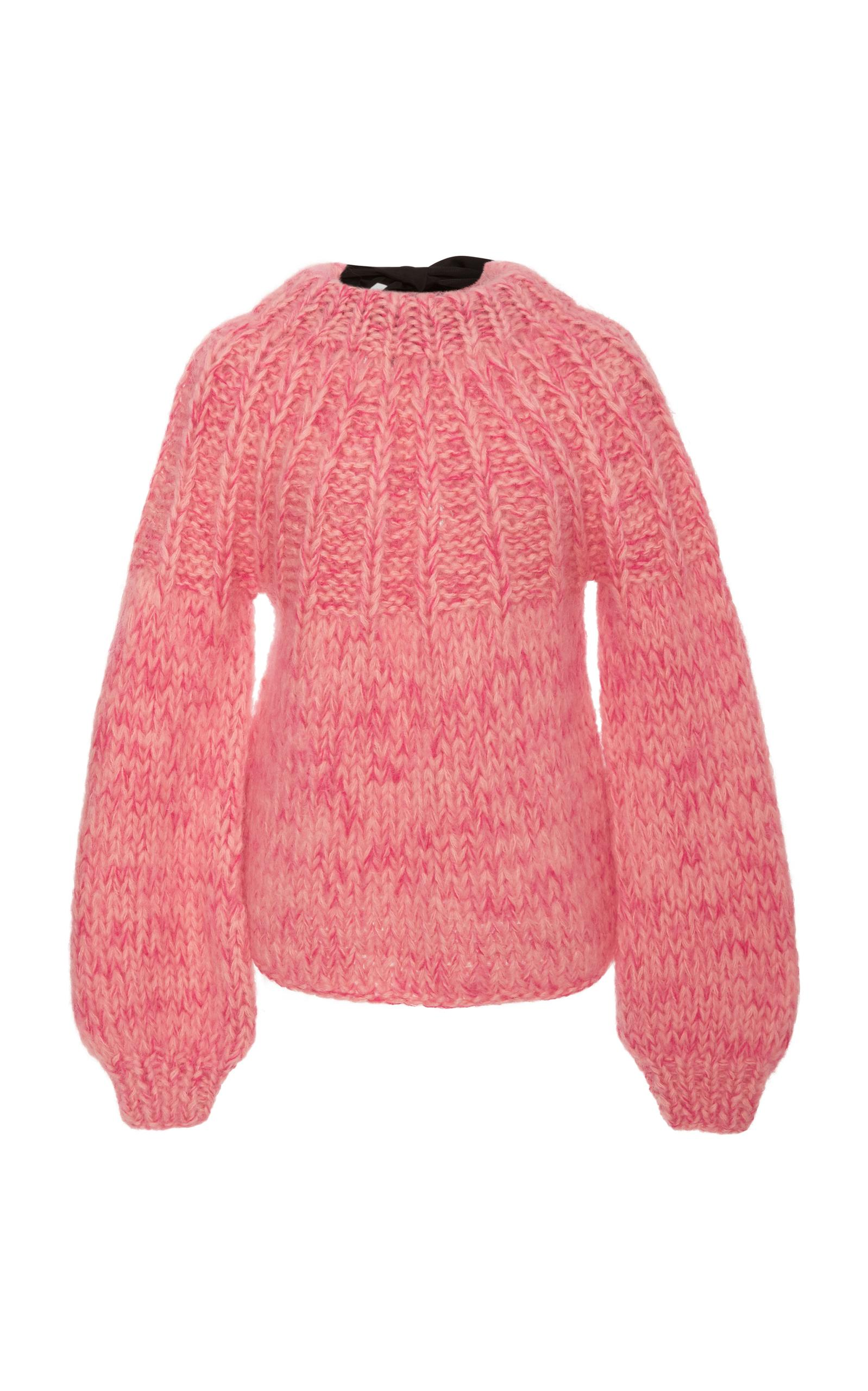 Ganni Julliard Bow-Embellished Mohair And Wool-Blend Sweater In Pink ... 32883f15a