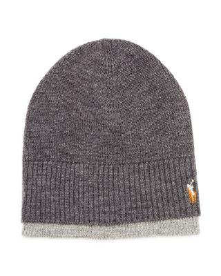 e967daef43cc06 Polo Ralph Lauren Classic Luxe Merino Wool Watch Cap Beanie In Windsor  Heather/Fawn Gray