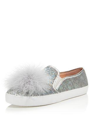 23e6ce6d62d0 Kate Spade Latisa Sequin Pompom Sneaker In Silver. SIZE   FIT INFORMATION