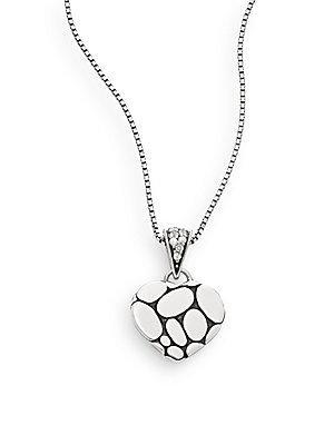 John Hardy Kali White Sapphire & Sterling Silver Lava Heart Pendant Necklace