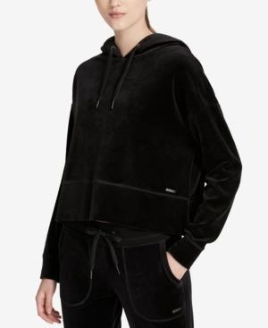 Calvin Klein Performance Cropped Velour Hoodie In Black