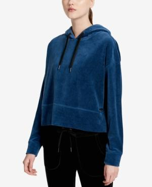 Calvin Klein Performance Cropped Velour Hoodie In Eclipse