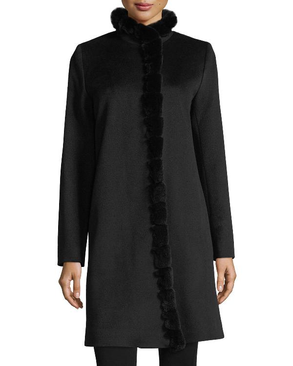Fleurette Fur-Trimmed Stand-Collar Wool Coat In Black Rex