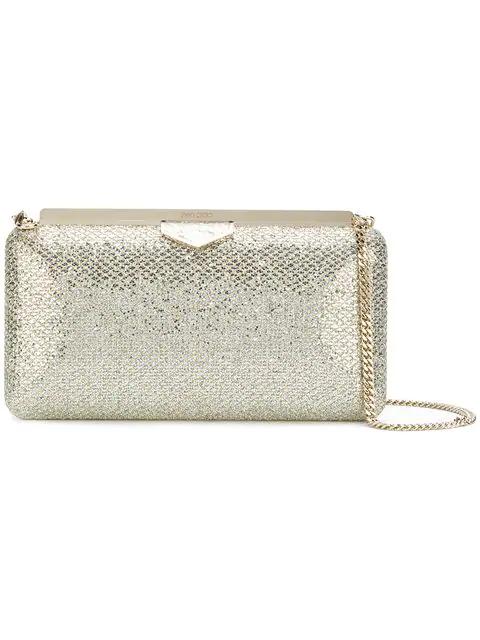 Jimmy Choo Ellipse Platinum Ice Dusty Glitter Clutch Bag In Champagne