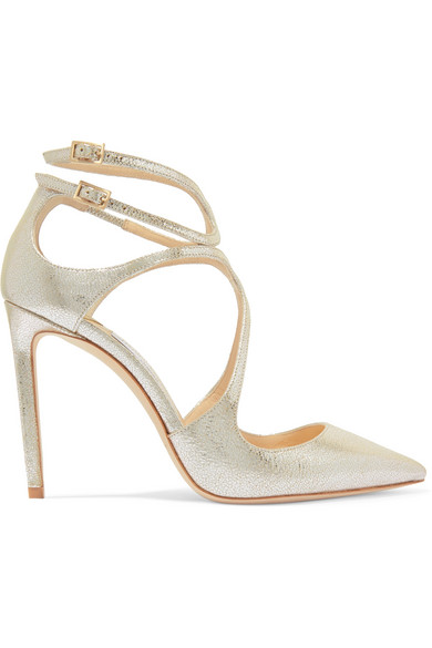1fac90bde5fc Jimmy Choo Lancer 100 Metallic Cracked-Leather Pumps In Silver ...