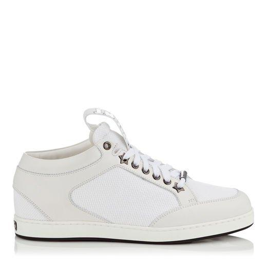d7a27917e3a6 Jimmy Choo Miami White Canvas And Leather Sneakers With Logo Pull ...