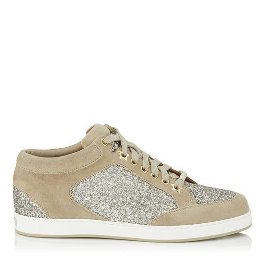 550a7e4dbb0f Jimmy Choo Miami Chai Shadow Coarse Glitter Fabric And Suede Sneakers In  Chai/Chai