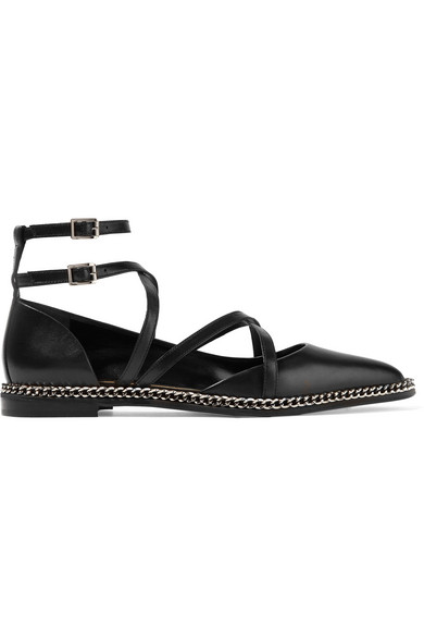 Lanvin Chain-embellished Leather Point-toe Flats In Black
