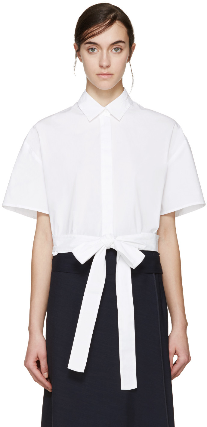 62b30aa90dd Msgm White Cropped Tie Shirt | ModeSens