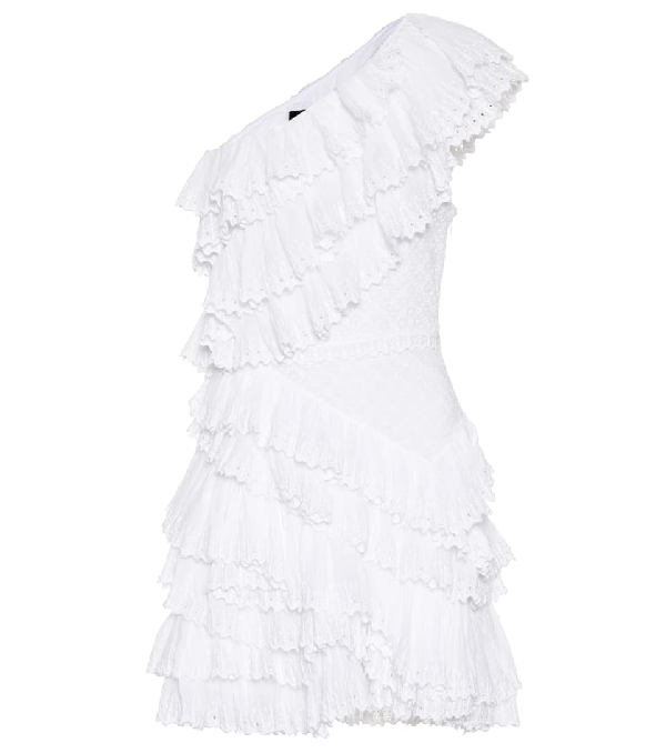 eac391ed3e1 Isabel Marant Zeller One-Shoulder Ruffled Broderie Anglaise Cotton Mini  Dress In White
