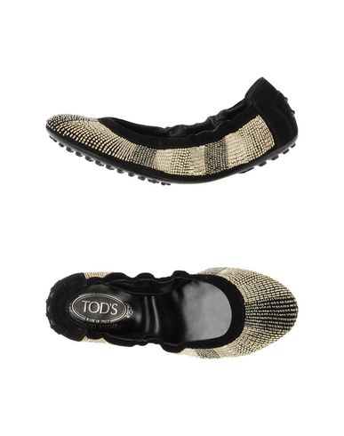 Tod's Gold Beaded Black Suede Packable Ballerina Flats