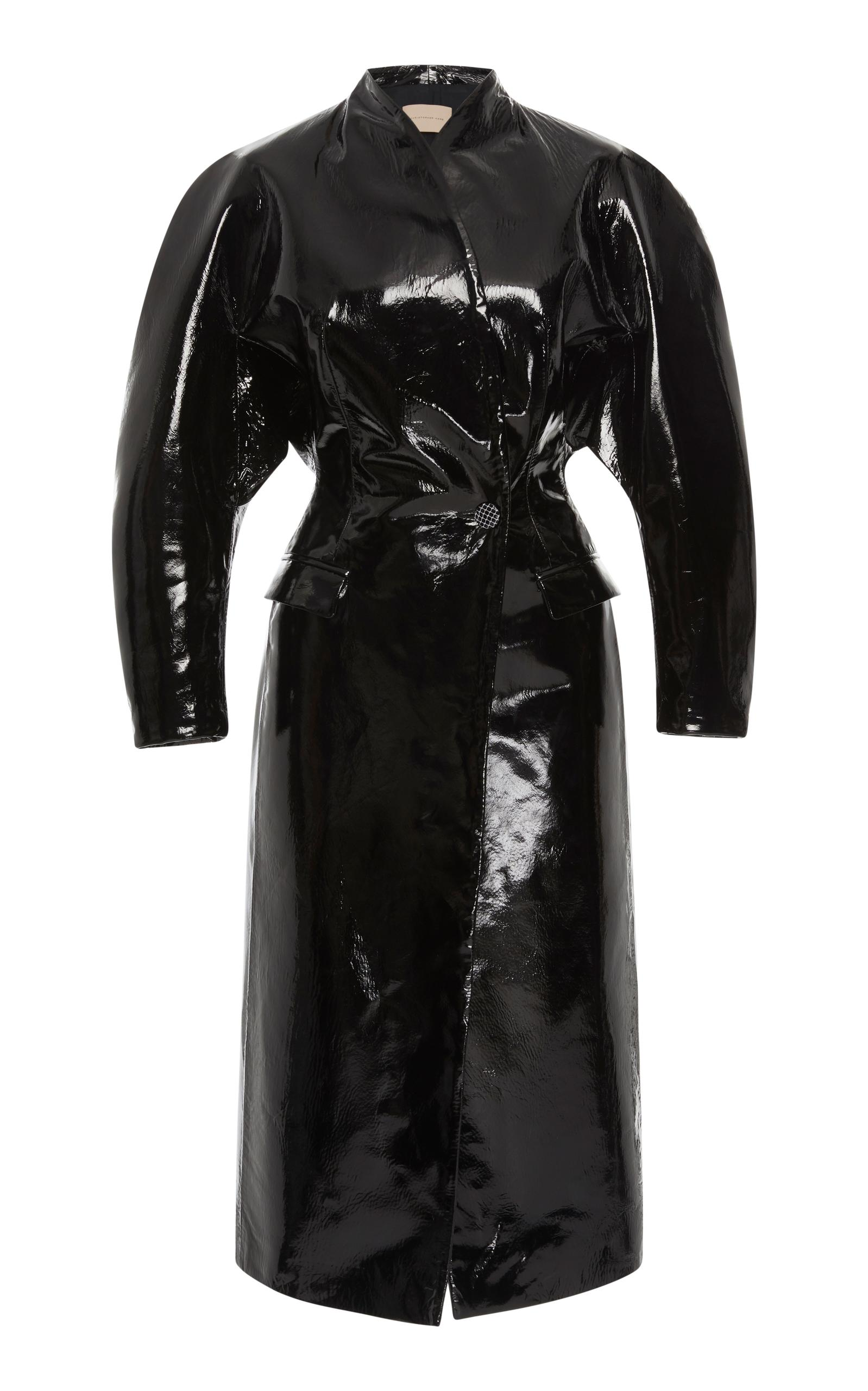 03a670e177d Christopher Kane Double Breasted Patent Leather Coat In Black