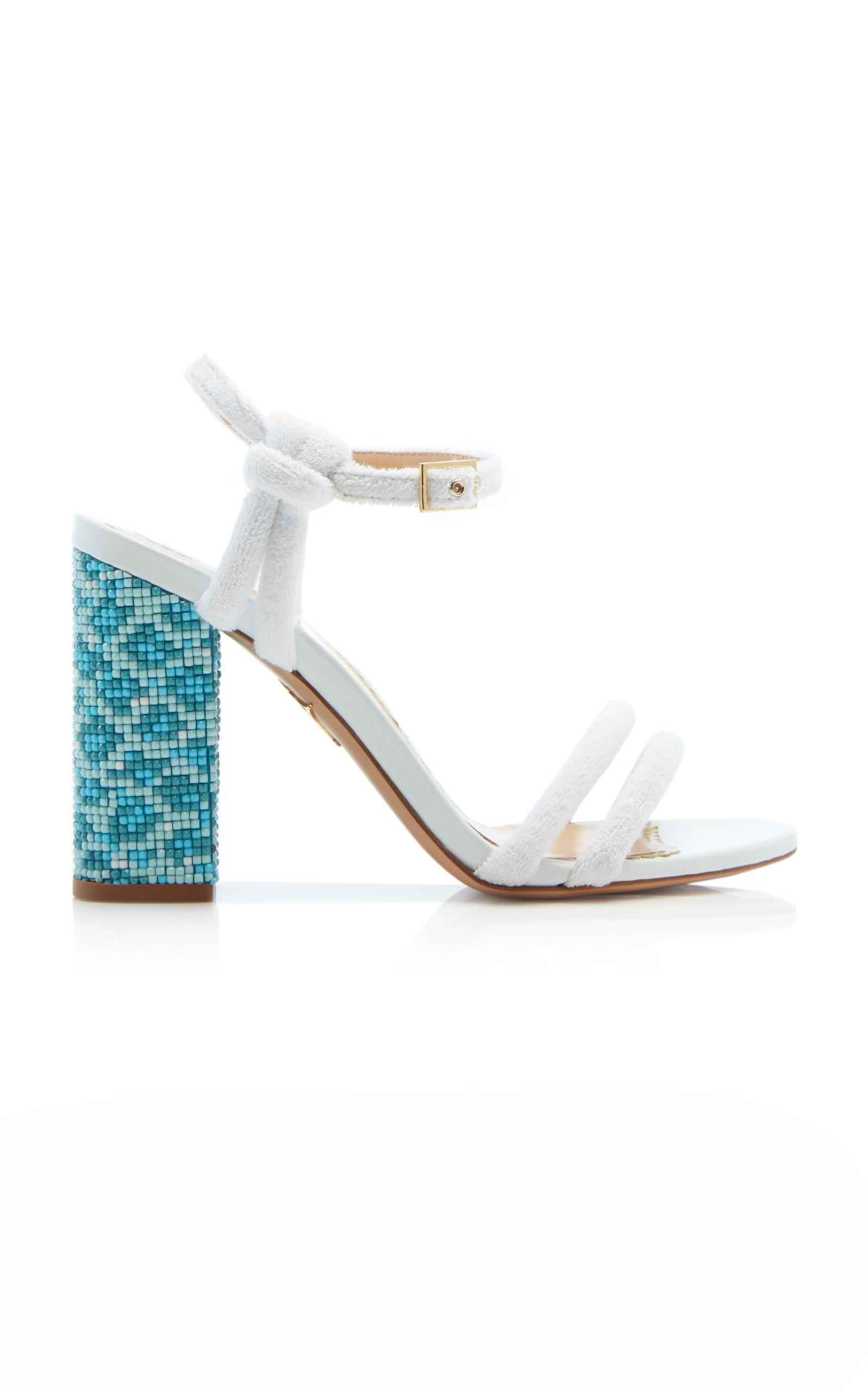 ec1192119cd Charlotte Olympia Woman Cordelia Bead-Embellished Leather And Terry Sandals  White