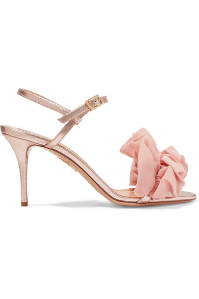 Charlotte Olympia Woman Reia Ruffled Organza-AppliquÉD Metallic Leather Sandals Baby Pink