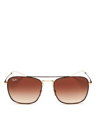 38dc12faf Ray Ban Ray-Ban Unisex Brow Bar Navigator Square Sunglasses, 55Mm In Gold/