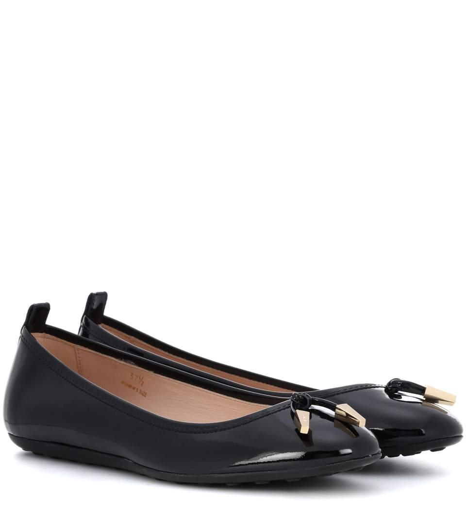 Tod's Patent Leather Ballerinas In Black