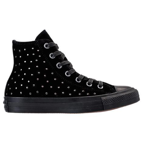 bfa29c59b820 Converse Women s Chuck Taylor Hi Velvet Stud Casual Sneakers From Finish  Line In Black