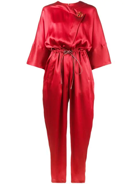 Roksanda Tamiko Silk Jumpsuit In Red