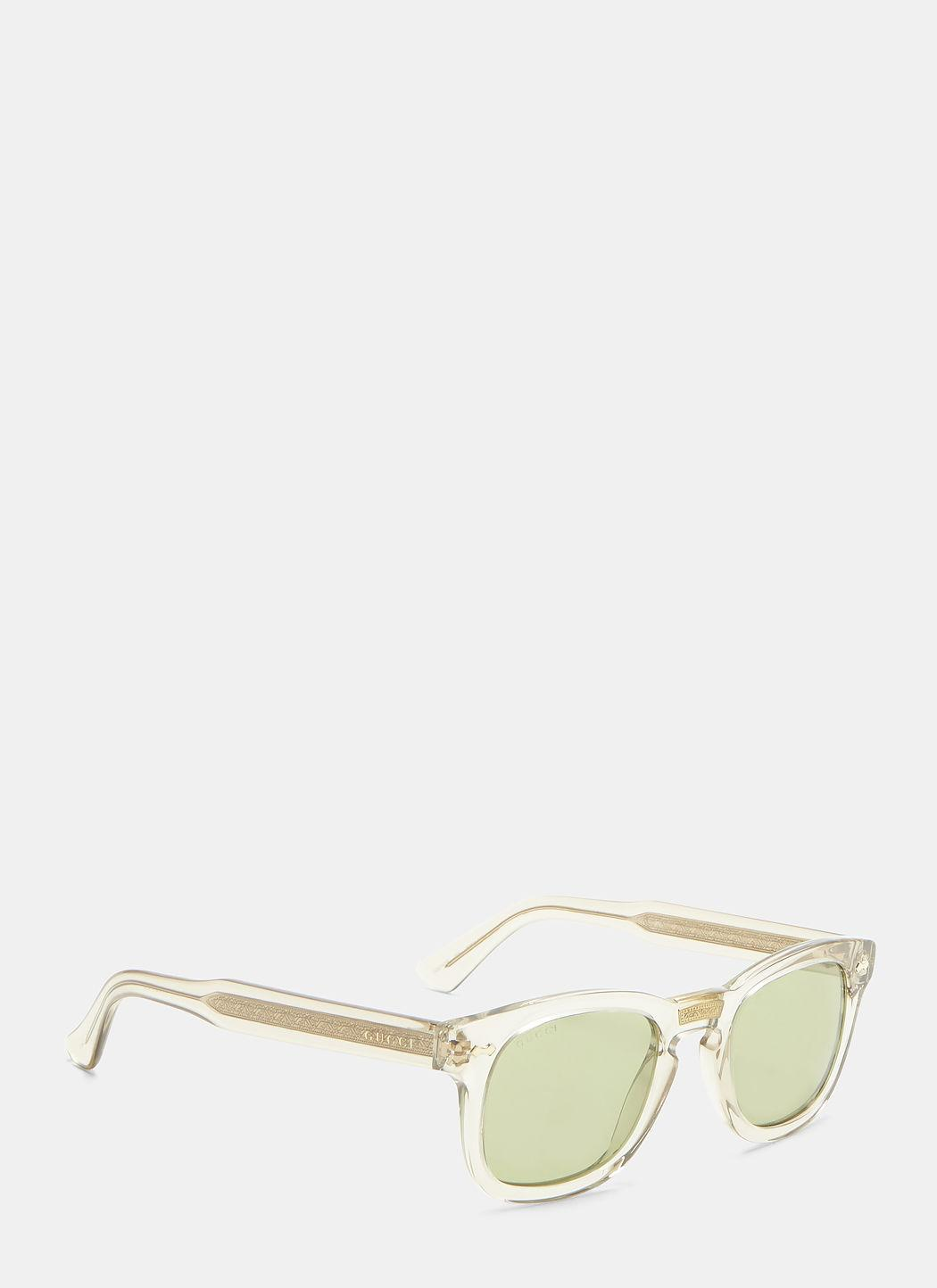 891f416881c4 Gucci Classic Transparent Square Sunglasses In Green   ModeSens