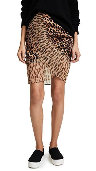 4de56bebad Sjyp Leopard Pleats Detail Mini Skirt In Dark Beige | ModeSens