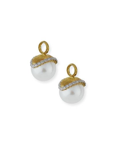 Jude Frances Provence Pearl & Diamond Earring Charms In Gold