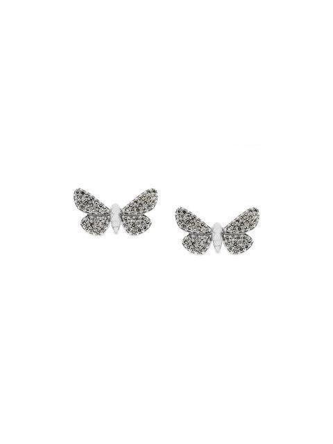 Astley Clarke 14Kt Gold Cinnabar Papillon Diamond Earrings - Metallic