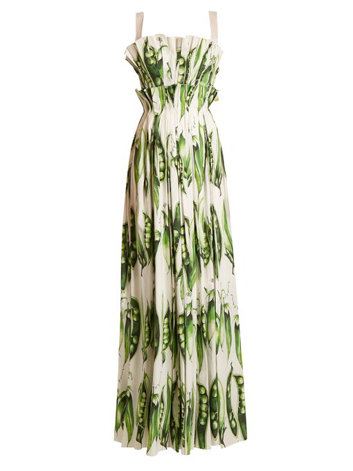 Dolce & Gabbana Broad Bean-print Pleated Cotton-blend Gown In Green Print