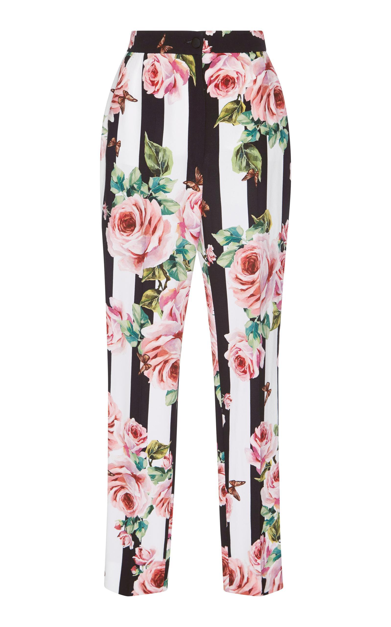 Dolce & Gabbana Floral-printed Silk Trousers In Eero