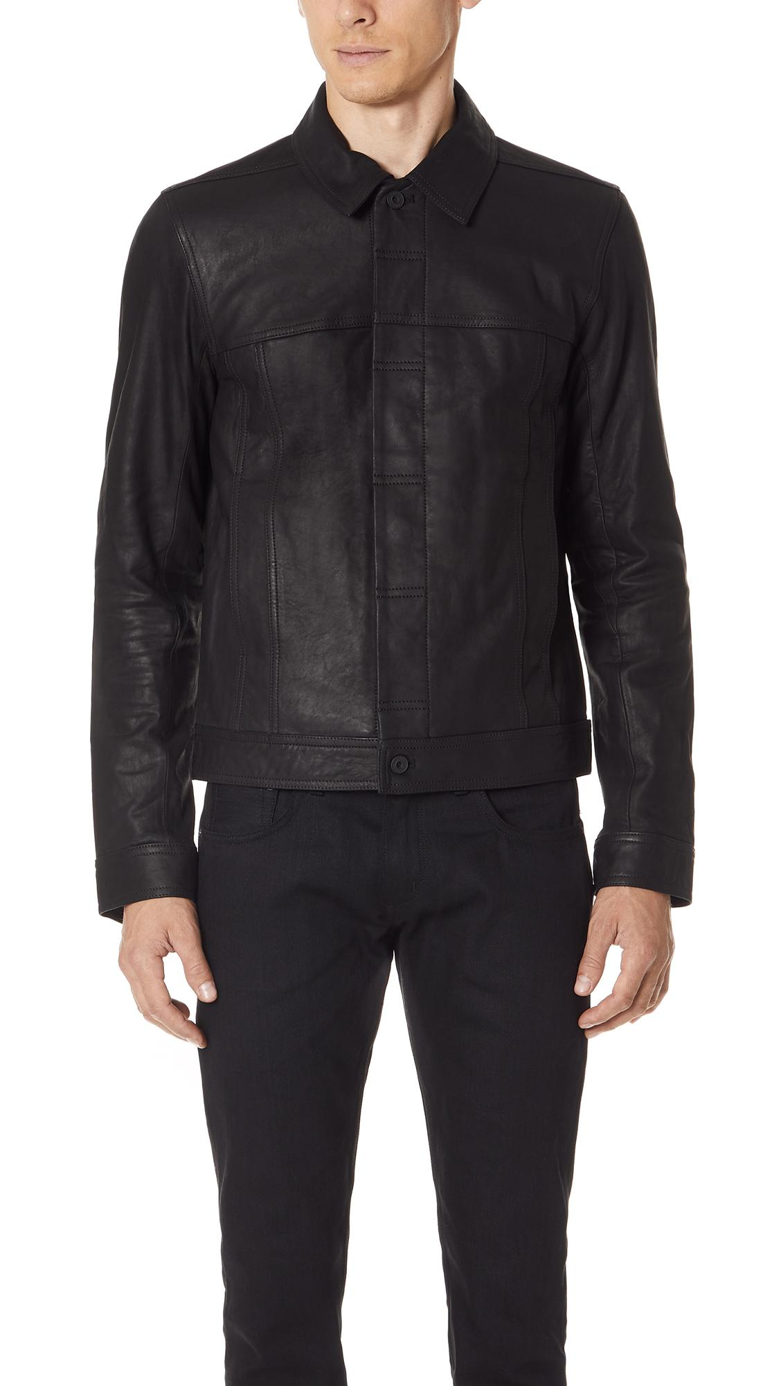 Vince Leather Trucker Jacket In Black