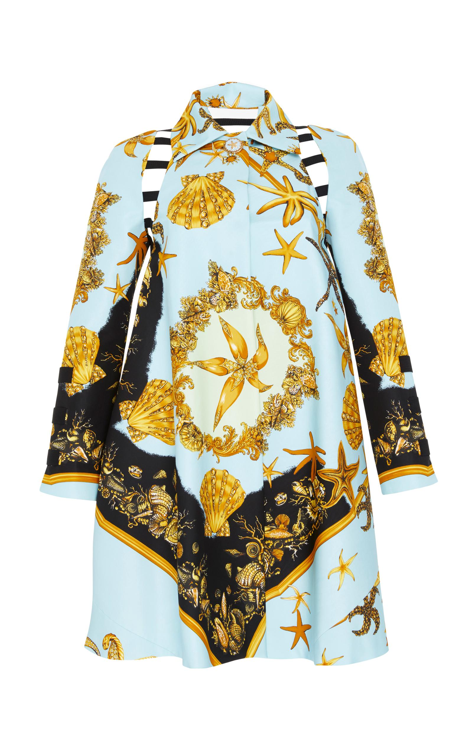 Versace Cutout Coat In Print