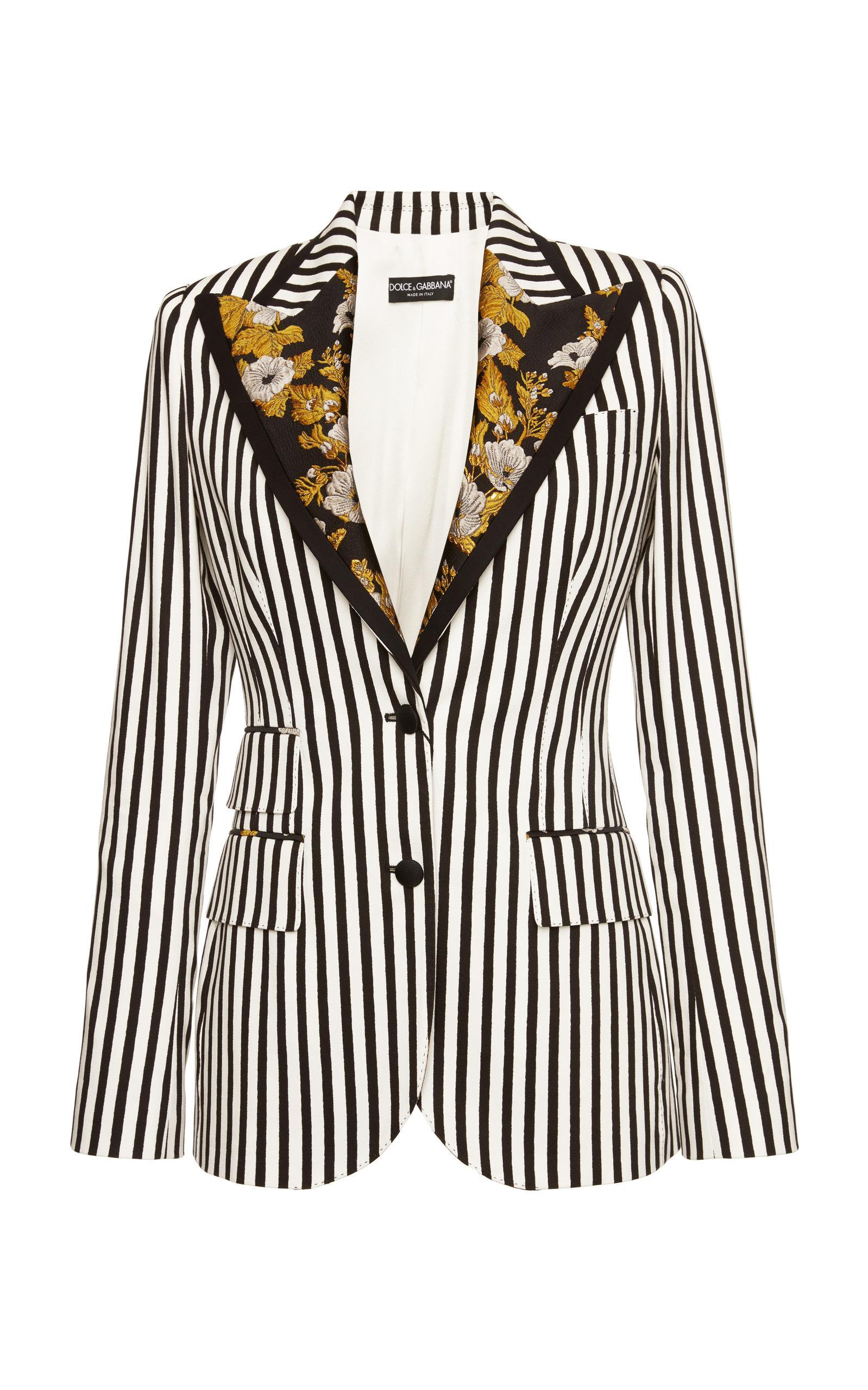 Dolce & Gabbana Striped Blazer With Embroidery