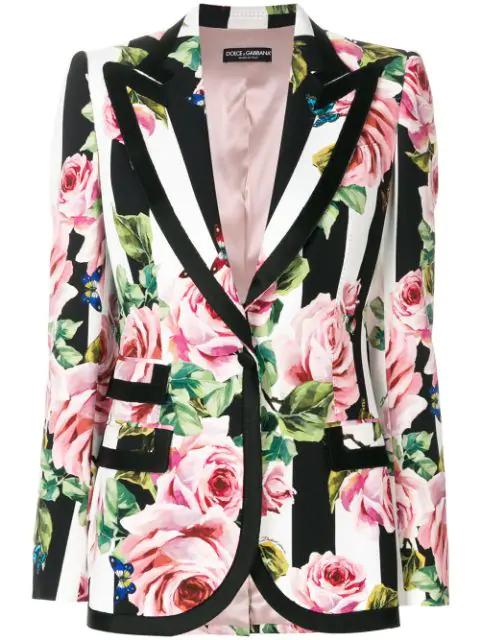 Dolce & Gabbana Single-Breasted Blazer In Printed Cady In Black