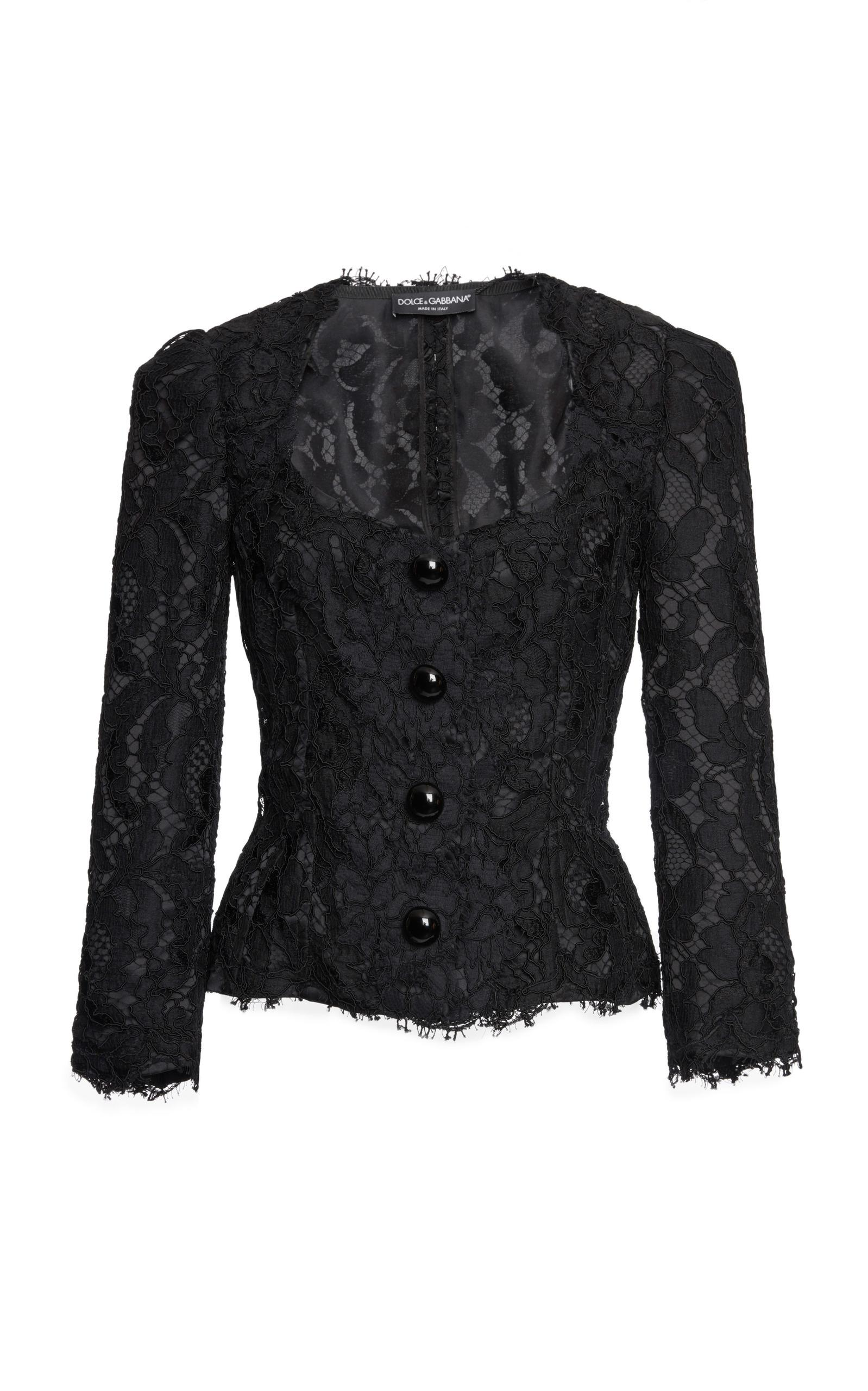Dolce & Gabbana Lace Embroidered Jacket In Black