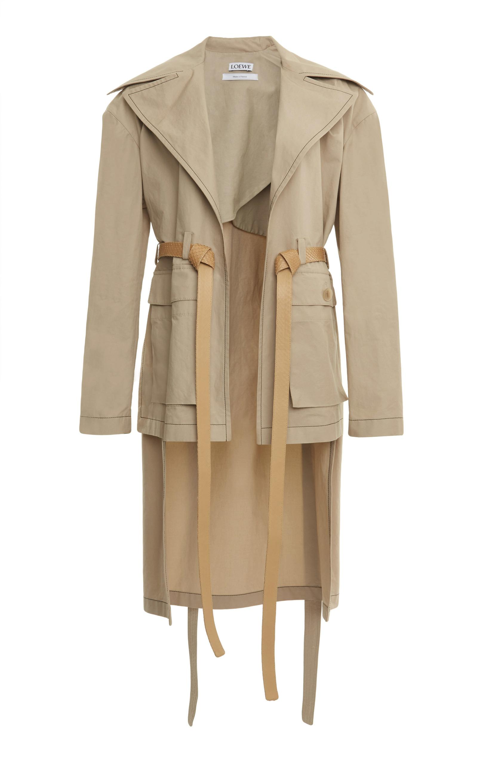 Loewe Patch Pocket Belted Coat In Neutral