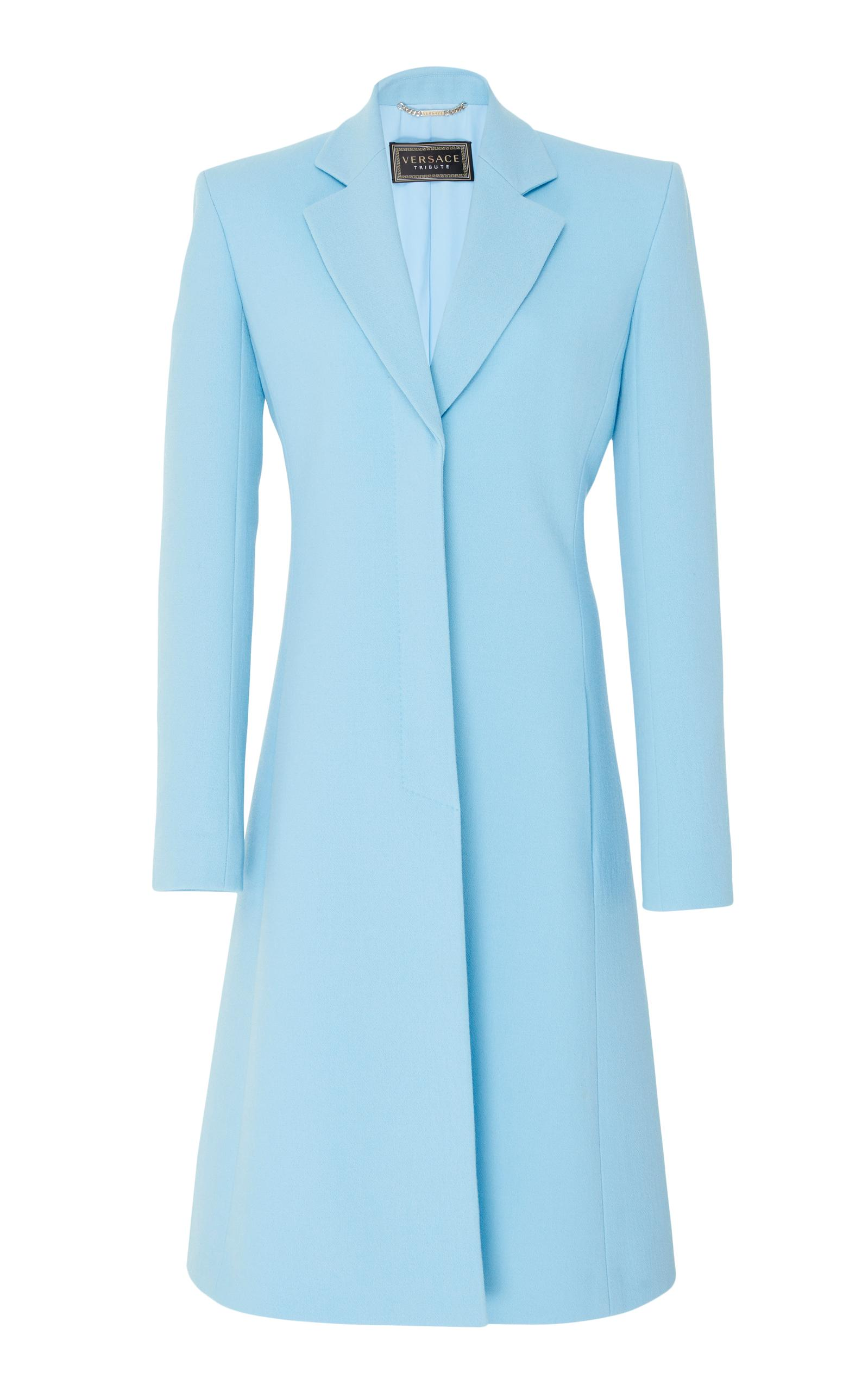 Versace A-Line Crepe Coat In Blue