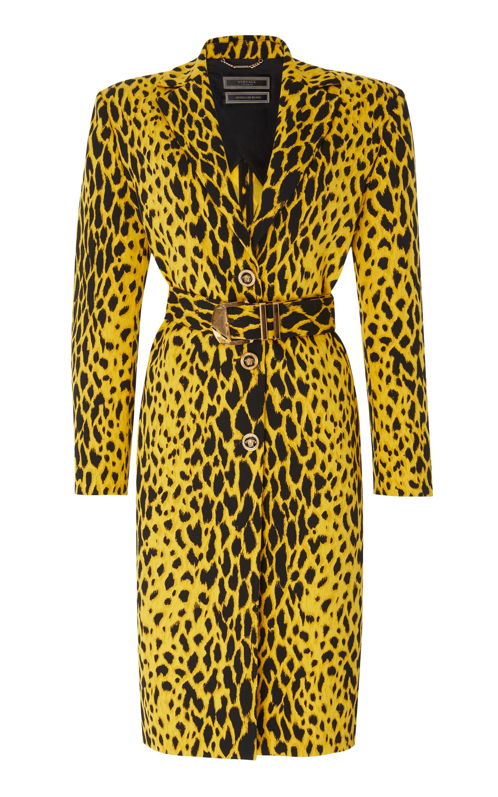 Versace Belted Trench Coat In Animal