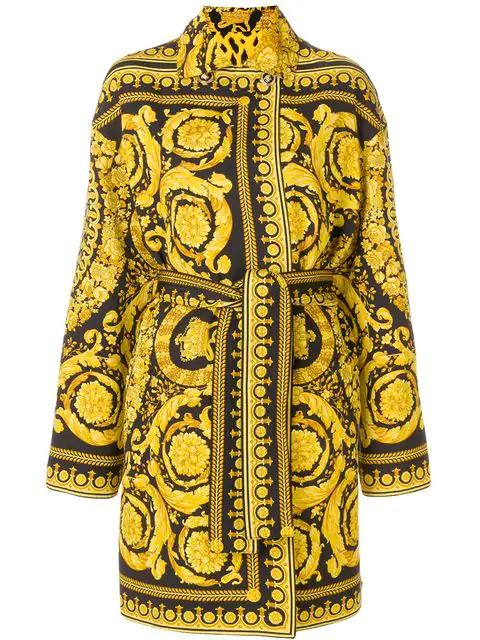 Versace Reversible Twill Trench Coat In Yellow