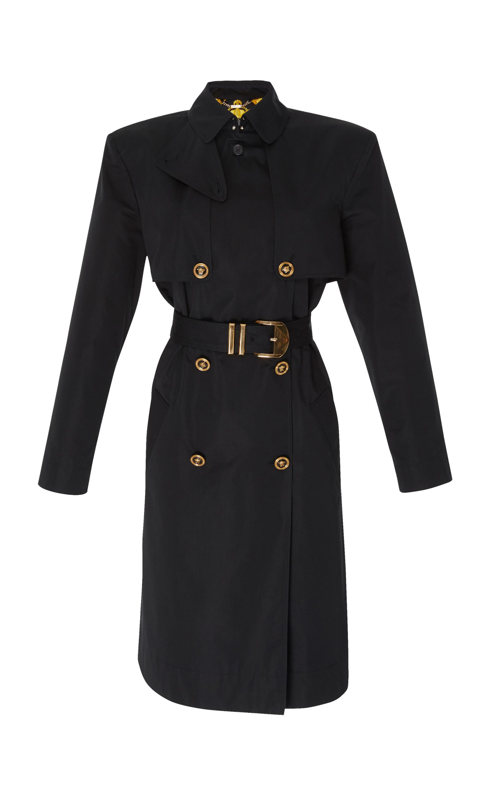 Versace Double Breasted Trench Coat In Black