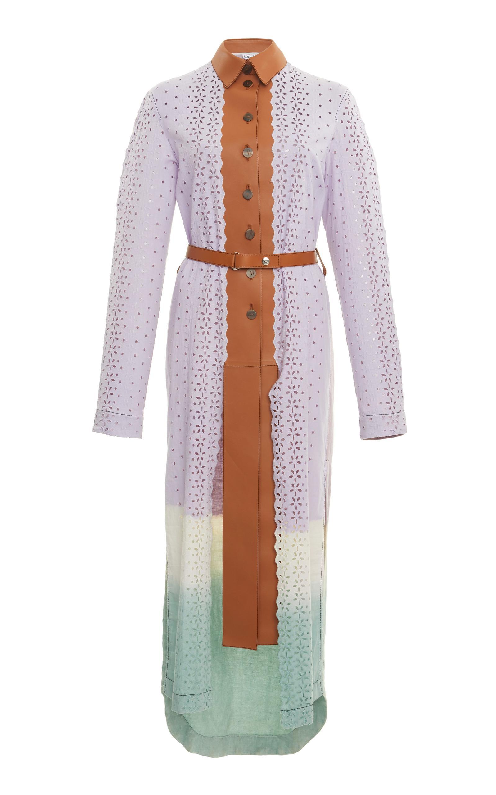 Loewe Ombre Laser-Cut Lace Coat In Stripe