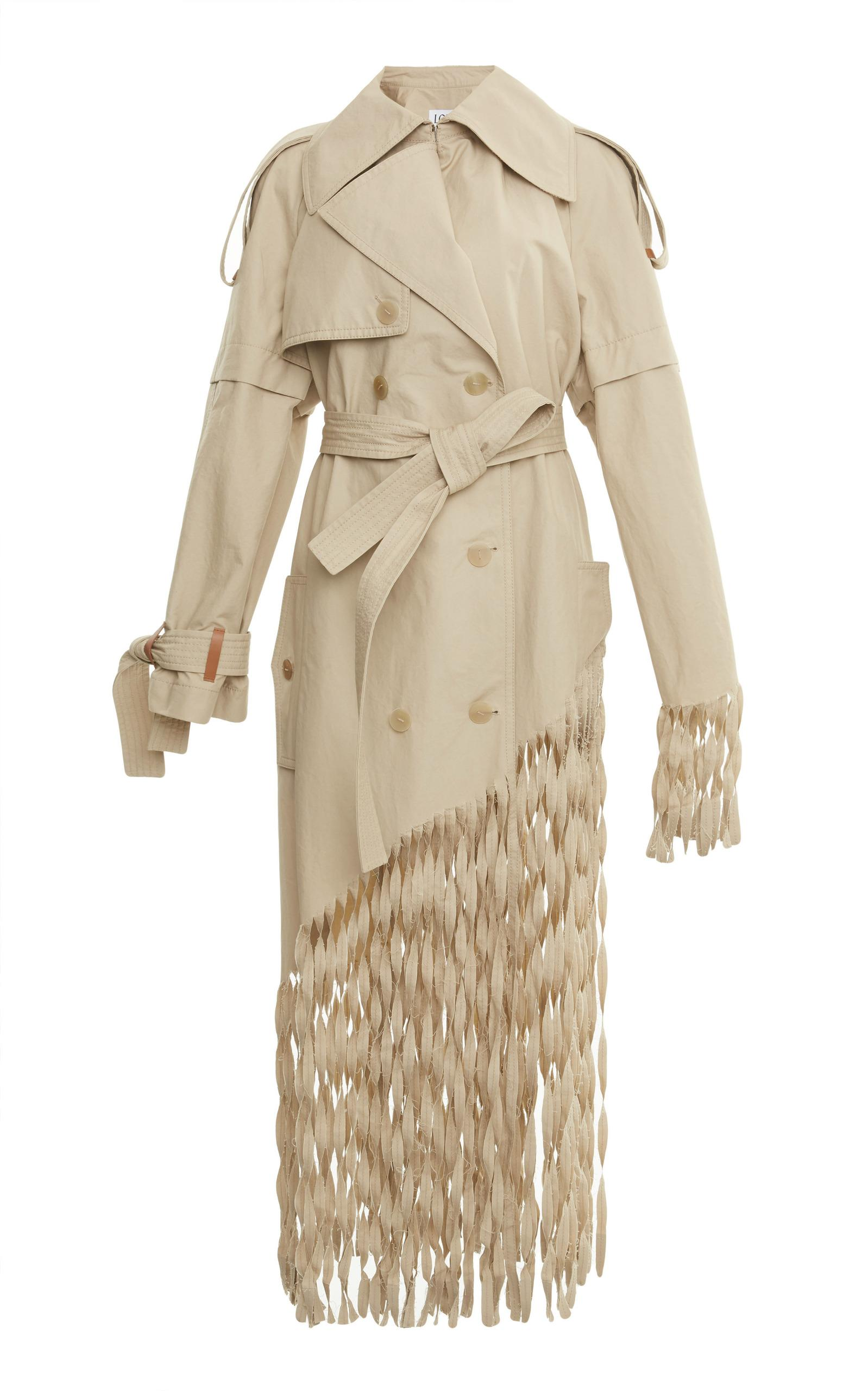 Loewe Distressed Fringed Cotton Trench Coat In Beige
