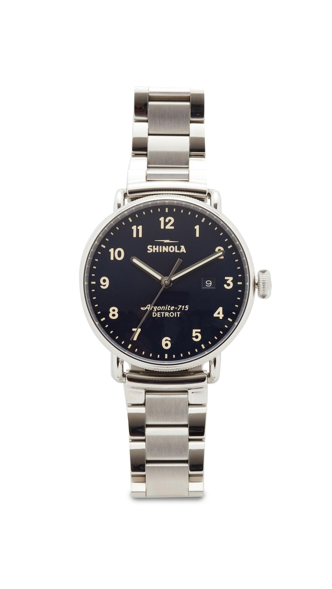 Shinola The Canfield 43Mm Watch In Midnight Blue/Stainless