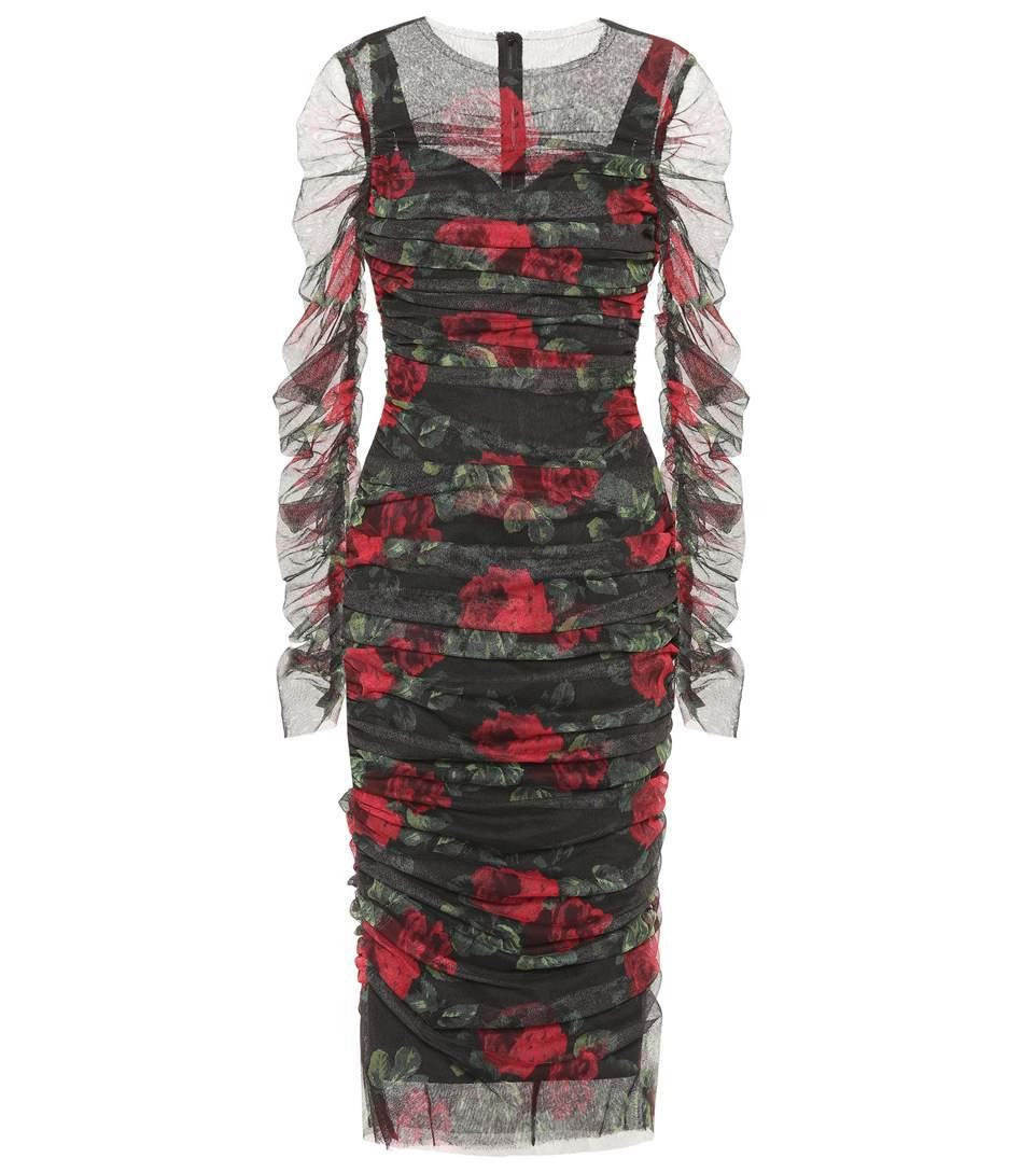Dolce & Gabbana Floral-Printed Cotton Dress In Rose Foedo Eero