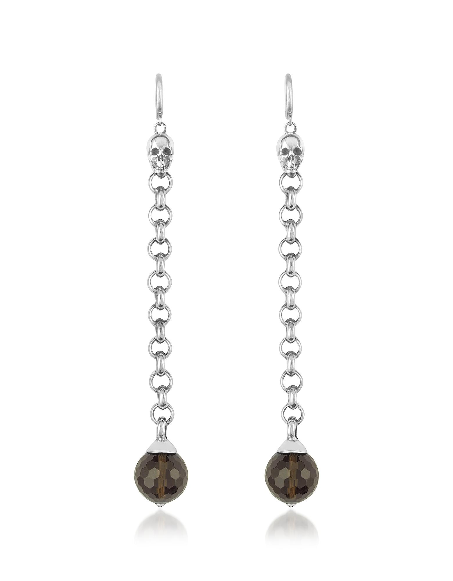 Ugo Cacciatori Smoky Quartz Orb & Skull Sterling Earrings In Silver